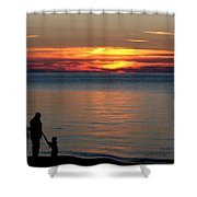 Silhouetted In Sunset At Sturgeon Point Marina Shower Curtain