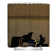 Silhouetted Sea Monster Playing Piano.tif Shower Curtain