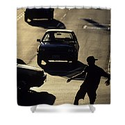 Silhouetted Skateboarder Shower Curtain