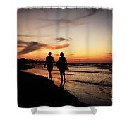 Silhouettes On Varadero Beach Shower Curtain