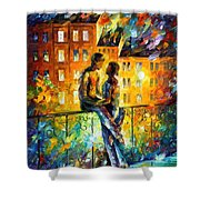 Silhouettes - Palette Knife Oil Painting On Canvas By Leonid Afremov Shower Curtain