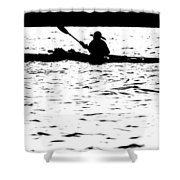 Sillouette Of Man Kayaking On Lake Shower Curtain