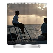 Sillouetted Man Steers Flats Boat Shower Curtain