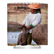Sillustani Girl With Hat And Lamb Shower Curtain by RicardMN Photography