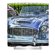 Silver 1963 Austin Healey Roadster 3000 Shower Curtain