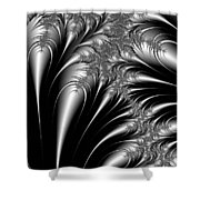 Silver And Black Abstract Shower Curtain