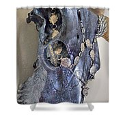 Silver And Black Illuminating Bull Skull Shower Curtain