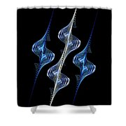 Silver And Blue Spirals Shower Curtain