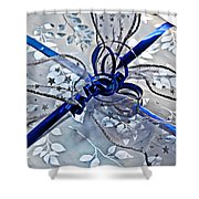 Silver And Blue Wrapped Gift Art Prints Shower Curtain