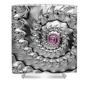 Silver And Pink Spiral Glossy Silber Metal Shower Curtain