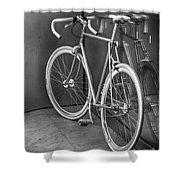 Silver Bike Bw Shower Curtain