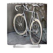 Silver Bike Shower Curtain