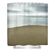 Silver Blue Sea Shower Curtain