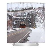 Silver Creek Cliff Tunnel Winter 1 Shower Curtain