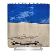 Silver Lake Dune With Dead Tree Branch And Cirrus Clouds Shower Curtain