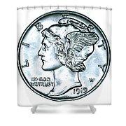 Silver Mercury Dime Shower Curtain