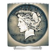1922 Silver Proof Peace Dollar Shower Curtain