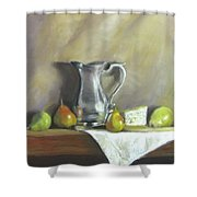 Silver Pitcher With Pears Shower Curtain