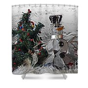 Silver Snowman With Christmas Tree Shower Curtain