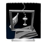 Silver Space Champagne Shower Curtain