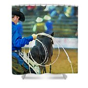 Silver Spurs Rodeo Outrider Shower Curtain