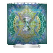 Silver Torquoise Chalicell Ring Flower Of Life Matrix II Shower Curtain