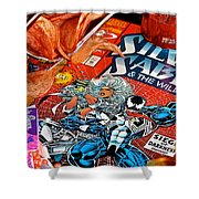 Silver Venom Shower Curtain