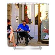Simplement Dliche Cupcakes Et Ice Tea Bistro Rue St Denis Plateau Montreal Cafe Scene Carole Spandau Shower Curtain