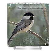 Simply Chickadee With Verse Shower Curtain