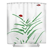 Simply Ladybugs And Grass Shower Curtain