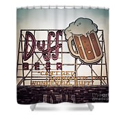 Simpsons Duff Beer Neon Sign Shower Curtain by Edward Fielding