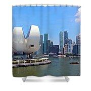 Singapore Artscience Museum And City Skyline Shower Curtain
