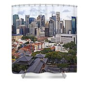 Singapore Central Business District Over Chinatown Area Shower Curtain