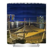 Singapore Central Business District Skyline At Dusk Shower Curtain