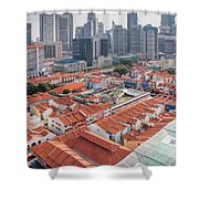 Singapore Chinatown With Modern Skyline Shower Curtain