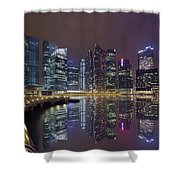 Singapore City Skyline Along Marina Bay Boardwalk At Night Shower Curtain