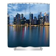Singapore City Skyline At Blue Hour Shower Curtain