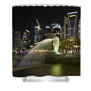 Singapore City Skyline At Merlion Park Shower Curtain