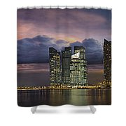 Singapore City Skyline At Sunset Panorama Shower Curtain