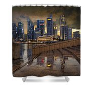 Singapore City Skyline By The Esplanade Shower Curtain
