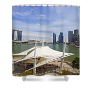 Singapore City Skyline From The Esplanade Shower Curtain