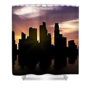 Singapore City Sunset Skyline  Shower Curtain
