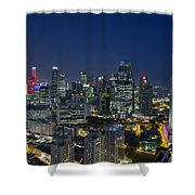 Singapore Cityscape At Blue Hour Shower Curtain