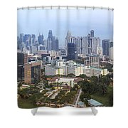 Singapore Financial District Skyline At Dusk Shower Curtain