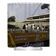 Singapore Flyer Along With The Sight-seeing Bus That Takes Tourists Around The City Shower Curtain
