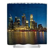 Singapore River Waterfront Skyline At Blue Hour Shower Curtain