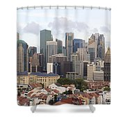 Singapore Skyline Along Chinatown Area Shower Curtain
