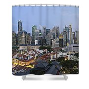 Singapore Skyline Along Chinatown Evening Shower Curtain