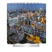 Singapore Skyline Along Singapore River Shower Curtain