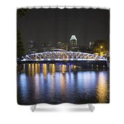 Singapore Skyline By Anderson Bridge At Night Shower Curtain